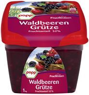 Popp Waldbeergrütze mit 52 % Fruchtmischung 1 kg Becher