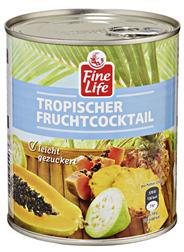 Fine Life Fruchtcocktail Tropic gezuckert, Mix aus Ananas, roter & gelber Papaya, Guave 12 x 850 ml Dosen