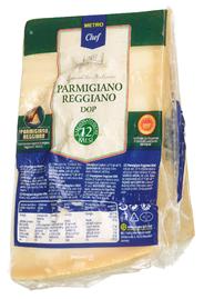 Horeca Select Parmigiano Reggiano Italienischer halbfetter Hartkäse, 1 Stück à ca. 1 kg, 32 % Fett ca. 1 kg Stücke