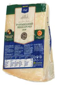 Horeca Select Parmigiano Reggiano Italienischer halbfetter Hartkäse, 1 stück à ca. 2 kg, 32 % Fett ca. 2 kg Stücke