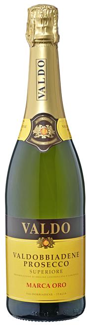 Valdo Prosecco Marca Oro trocken DOCG Perlwein aus Qualitätswein mit kontrollierter und garantierter Herkunftsbezeichnung, höchste Qualitätsstufe, aus Italien 0,75 l Flasche