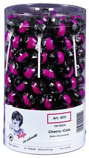 Kuefa Cherry Cola Lolly Lutscher mit Kirsch Cola Geschmack 100 Stück Dose
