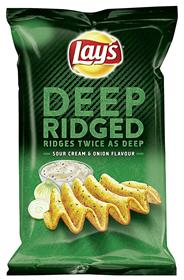 Lay's Deep Ridged Scream & Onion tief geriffelte Kartoffelchips mit Cream & Onion Geschmack, 1 Tasche á 147 g 147 g Beutel