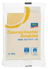 Aro österreichischer Bergkäse 45 % Fett ca. 300 g Packung