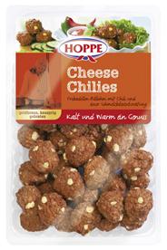 Hoppe Cheese Chilies Frikadellen-Bällchen mit Schmelzkäsezubereitung & Chili, vorgebraten, 40 Stück à 20 g 8 x 800 g Packungen
