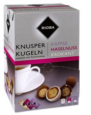 Rioba Knusperkugeln Einzelportionen Mix 144 Stück á 2,4 g, mit Schokolade 350 g
