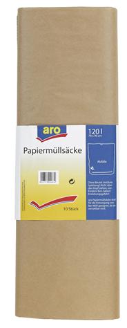 Aro Papiermüllsäcke 120 l 70 x 95 cm Naturbraun - 10 Stück
