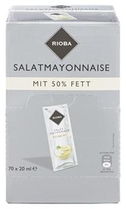 Rioba Mayonnaise Einzelportionen 50 % Fett, 70 Stück á 20 ml 1,4 l Karton
