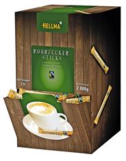 Hellma Rohrzuckersticks Einzelportionen Fairtrade, 500 Stück á 4 g 2000 g Karton