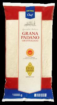 METRO Chef Grana Padano gerieben Hartkäse, mind. 32 % Fett i. Tr., 9 Monate gereift - 1 kg Packung