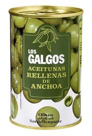 Los Galgos Oliven grün gefüllt mit Sardellenpaste 314 ml Dose