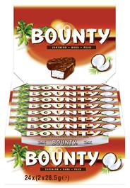Bounty Zartherb Schokolade, gefüllt mit saftigem, weissem Kokosmark 24 x 57 g Karton