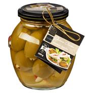 Fine Food Finestro grüne Oliven gefüllt mit Mandeln und Paprikastreifen 395 ml Glas