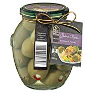 Fine Food Finestro Grüne Oliven Knoblauch & Paprika 395 ml Glas