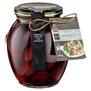 Fine Food Finestro Kalamata Oliven naturschwarz, mit Stein, in Salzlake 395 ml Glas