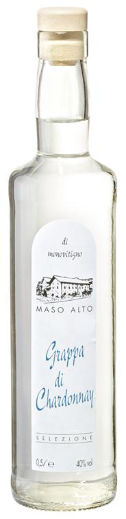 Maso alto Grappa di Chardonnay 40 % Vol. hergestellt aus der aromatischen Chardonnay-Traube 6 x 0,5 l Flaschen
