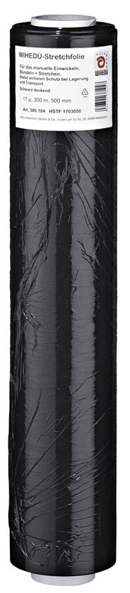 Heckmann Stretchfolie 300 m x 500 mm Schwarz Rolle