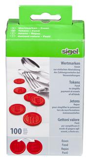 Sigel Wertmarken Essen Rot Ø 25 mm 100 Stück