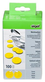 Sigel Wertmarken Essen Gelb Ø 25 mm 100 Stück