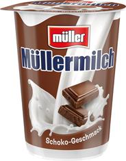 Müllermilch Schoko enthält Laktose, 500 ml, 1,5 % Fett im Milchanteil 0,5 l Becher