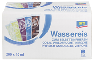 aro Wassereis zum Selbsteinfrieren, Mix aus Cola, Waldfrucht, Kirsche, Pfirsich-Maracuja & Zitrone - 200 x 40 ml