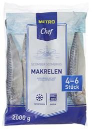 METRO Chef Makrelen tiefgefroren, ausgenommen, mit Kopf, Wildfang, ca. 300 - 500 g Stücke, 2 kg Beutel