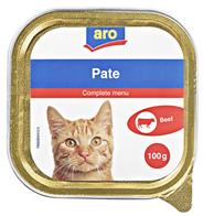 aro Pate, Menü für Katzen Rind 16 Stück á 100 g 1,6 kg Schachtel