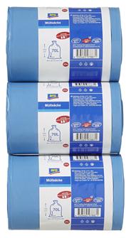 Aro Abfallsäcke 70 l 40 My 57 x 100 cm Blau - 75 Stück