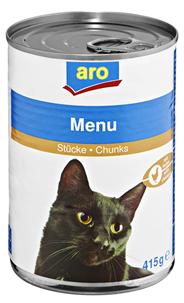 aro Menü für Katzen mit Geflügel-/Wildstücken 415 g Dose