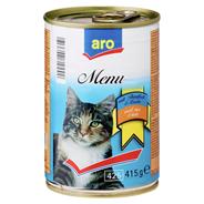 aro Menü für Katzen mit Lachs-/ Thunfischstücken 415 g Dose