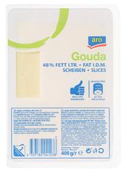 aro Gouda geschnitten 48% Fett, wiederverschließbar 400 g Packung