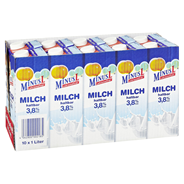 MinusL H-Vollmilch laktosefrei, 3,8 % Fett 10 x 1 l Packungen