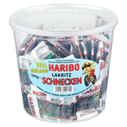 Haribo Lakritz Schnecken 100 Portionsbeutel à 12,7 g 1,27 kg Dose