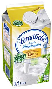 Landliebe frische Landmilch 3,8 % Fett 1,5 l Packung