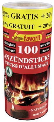 Favorit Anzündsticks Naturholz + 20 % Gratis 120 Stück