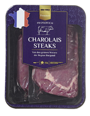 Metro Premium Französische Charolais Rinderentrecôtésteaks vak.-verpackt 2 Stück à ca. 200 g