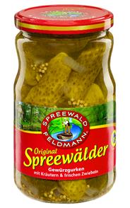 Spreewald-Feldmann Spreewälder Gewürzgurken mit Kräutern & frischen Zwiebeln 720 ml Glas