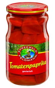 Spreewald-Feldmann Tomatenpaprika geviertelt 720 ml Glas
