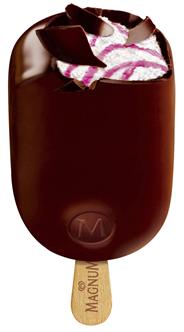 Langnese Magnum Yogurt Fresh Joghurteis mit fruchtiger Himbeersauce umhüllt von dunkler Schokolade 20 x 110 ml
