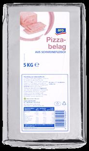 Aro Pizzabelag gepökelt, am Stück, aus Schweinefleisch, aus Fleischstücken zusammengefügt, grob entfettet, gepökelt, gekocht, ohne Schwarte, vak.-verpackt 5 kg Packung