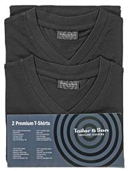 Tailor & Son Herren T-Shirt Schwarz mit V-Auschnitt in XXL 2 Stück