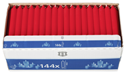 H-Line Tafelkerze Rot 180 x Ø 21,5 mm, Brenndauer 5,5 - 6,5 Stunden - 144 Stück