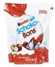 Kinder Schoko Bons gefüllte Vollmilchschokoladeneier mit Milchfüllung und fein gehackten Haselnüssen 144 x 200 g Beutel