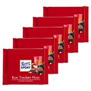 Ritter Sport Tafelschokolade Rum Trauben Nuss Rum (2 %), Sultaninen (13 %), Haselnuss-Stückchen (5,5 %), Kakao (30 %), 5 Stück à 100 g 500 g Packung