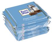 Ritter Sport Tafelschokolade Alpenmilch Kakao (30 %), 5 Stück à 100 g 16 x 500 g Packungen