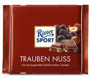 Ritter Sport Tafelschokolade Trauben Nuss Sultaninen (16 %), Haselnuss-Stückchen (7 %), Kakao (30 %), 5 Stück à 100 g 500 g Packung