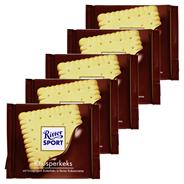 Ritter Sport Tafelschokolade Knusperkeks Butterkeks (14 %), Milch-Kakao-Creme (29,5 %), Vollmilchschokolade (56,5 %), 5 Stück à 100 g 500 g Packung