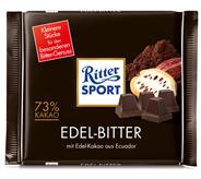 Ritter Sport Tafelschokolade Edelbitter Dunkle Edel Bitter Schokolade, Kakao (73 %), 5 Stück à 100 g 500 g Packung