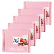 Ritter Sport Tafelschokolade Erdbeer Joghurt Erdbeer Magermilchjoghurt Creme (42 %), Reisflakes (1,1 %), Erdbeerstückchen (1 %), 5 Stück à 100 g 500 g Packung