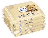 Ritter Sport Tafelschokolade Keks Nuss Haselnuss Stückchen (8,5 %), Keks-Crisp (6,5 %), Kakao (30 %), 5 Stück à 100 g 500 g Packung